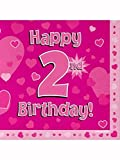 Happy 2nd Birthday Pink Hearts Luncheon Napkins 16pk