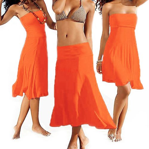SSITG Sommer Kleid Rock Strandkleid Strandrock Sommerkleid Bikini Beach Strapless Summer Orange