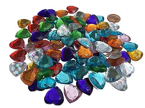 Lot de 100Adhésifs cœurs décoratifs 16mm Multicolore strass scintillantes gltzer pierres Bijoux Pierres Strass pour décorer Décoration Amour de Crystal King