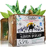 Nabür - Aleppo Seife 55% Lorbeeröl 45% Olivenöl 3-in-1 Handarbeit Vegan Friendly Extra-sanft, Gesichtsmaske, Körper, Festes Shampoo +/-200 gr