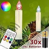 Homelux 30 RGB LED Weihnachtskerzen Christbaumbeleuchtung Fernbedienung Timer Kabellos mit Batterien - 10/20/30/40er Set - DEUTSCHER HÄNDLER