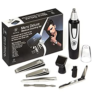 Urban Gent Esq 8 Piece Male Grooming Kit Ear and Nose Hair Trimmer Beard Trimmer Detachable Heads -Mens Manicure Set