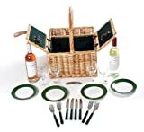 Greenfield Collection (GG002) Deluxe Windsor Picknickkorb für 4Personen, Weide, Futter in Royal Grün