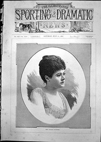 Copie Antique des Cheveux Sombres 1891 de Jeune Femme de Mlle Lucille Saunders de Portrait par Old-print