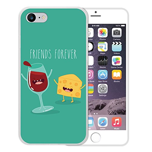 WoowCase Hülle Case für [ iPhone 7 ] Handy Cover Schutzhülle Friends Forever- Wein und Käse Housse Gel iPhone 7 Transparent D0419
