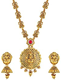 Asmitta Traditional Laxmi Design Gold Plated Choker Necklace Set For Women