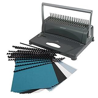 Genie CB 850 Spiralbindegerät (bis 350 Blatt, DIN A4, Inkl. 75-teiligem Starterset) silber/schwarz
