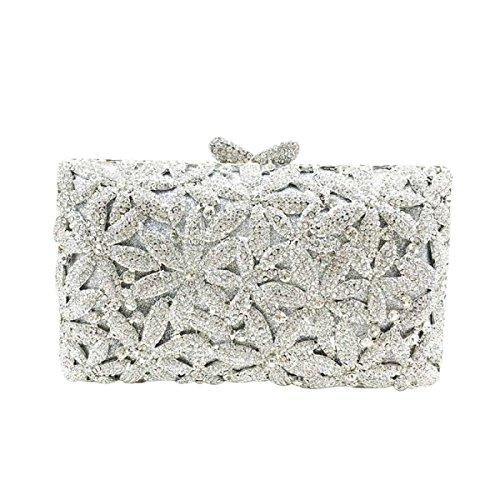 Frauen-Blumen-Geldbeutel Mit Strass Kristall Clutch Abendtasche Silver