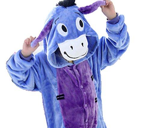 CIRAD Kostüm Jumpsuit Tier Fasching Karneval Halloween kostüm kinder Unisex Schlafanzug (110 (3-4 Jahre), Esel)