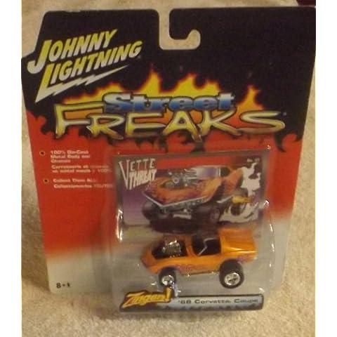 2005 Johnny Lightning Street Freaks Zingers White Lightning '68 Corvette Coupe Orange #44 by Johnny Lightning