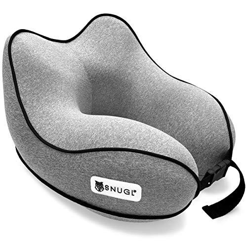 SNUGL Reisekissen - Premium Ergonomisches Design Memory Foam Kissen - Kopf-, Hals- und Kinnstütze für Flugzeug, Zug oder Auto - Inklusive tragbarer, kompakter Reisetasche - Graphitgrau -