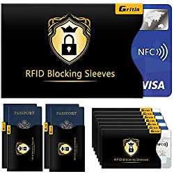 RFID Schutzhülle (18 Stück) Gritin NFC Schutzhülle Kreditkartenhüllen Blocking für Kreditkarte, Personal ausweishüllen, EC-Karte, Reisepass, Bankkarte, Ausweis