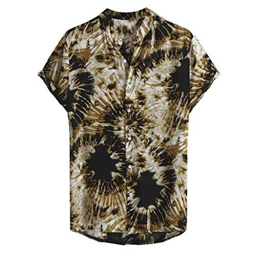 2300 T-shirt Short (Hawaiihemd | Herren | Kurzarm | Front-Tasche | Hawaii-Print | Bierflaschen Party Blumen)