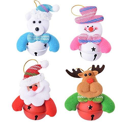 Doitsa 4Pcs/Set Super Mignon Pendentif Arbre de Noël Décoration Petite Poupée avec Cloche, Pendentifs de Noël, Forme Père Noël, Bonhomme de Neige, Elk, Ours