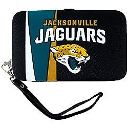 NFL Jacksonville Jaguars Shell Wristlet, 3.5 x 0.5 x 6-Inch, Black