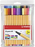 STABILO point 88 Wallet of 30 including 5 neon colours - Fineliner