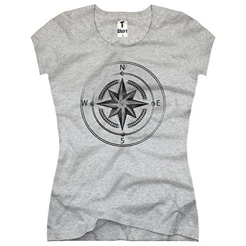 TEE-Shirt, Damen T-Shirt mit Aufdruck . Coole Motive. T-Shirt mit Kompass Druck.Größe M,Grau