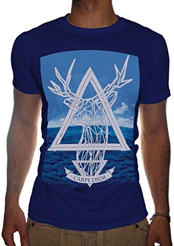 Uomo mare cervo Illuminati T-Shirt Obey società segreta triangolo cospirazione del governo Maglietta Blu scuro