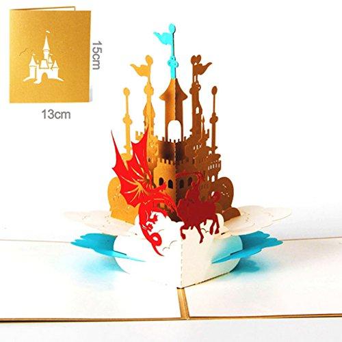 Dabixx Weihnachten Valentine Geburtstag Einladung 3D Pop Up Ritter Schloss Grußkarte Ritter und Schloss 12.7x14.6 cm (Valentines Ritter)