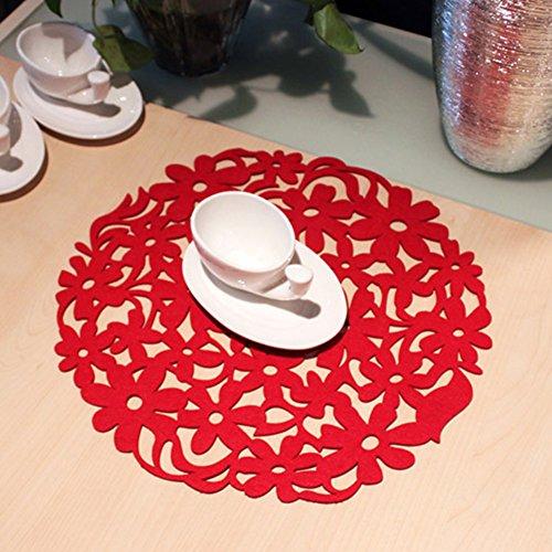 uxely Platzsets, hitzebeständig rutschfest Esstisch Platzsets, rund Laser geschnitten Blume Design Filz-Tischsets Küche Abendessen Tisch MATS 30x 30cm, rot, Free Size - Laser-design