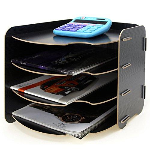 Tosbess Holz A4 Schreibtischorganizer Tisch Organizer Büro Fernbedienung Box Organisation Aufbewahrungsbox