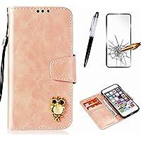 Handyhülle für Samsung Galaxy A3 2015 Hülle MISSDU Leder Flip Case Brieftasche Etui SchutzhülleTasche Cover Rhinestone Eule+Screen Protector + Touch Pen - Rose Gold