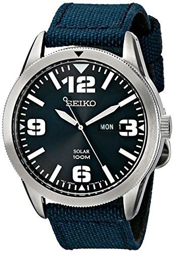 Seiko Sne329 Blau Nylon Herren Solar Uhr Nylon