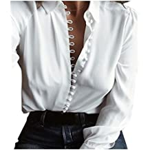 Fossen Mujer Blusa de Manga Larga Botones Camisetas de Baratas en Oferta Blusas de Mujer Elegantes