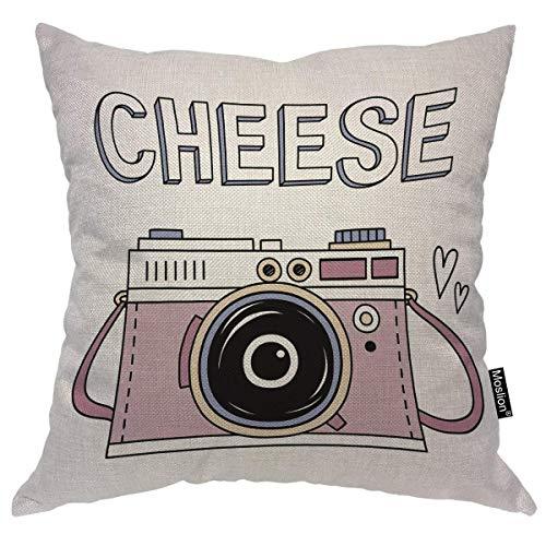Almohadas para la cámara Funda de almohada decorativa Lindo Vintage Rosa Foto digital Cámara Amor Corazón Queso Sonrisa Tiro Funda de almohada Cojín cuadrado Acento Algodón Lino Hogar, 45x45cm