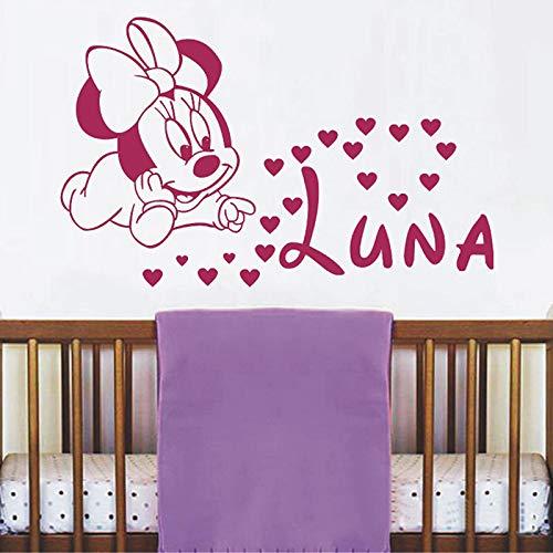 WSJIABIN Minnie Mouse Hearts Vinyl Wandaufkleber für Kinderzimmer Dekoration personalisierte Mädchen Name Wandtattoo Kinderzimmer Schlafzimmer Dekor