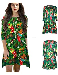 Mujer Camisón Vestido Primavera Otoño Navidad Elegantes Batas Manga Largo Cuello Redondo Ropa De Dormir Vintage