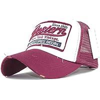 Gorra de beisbol ❤️Amlaiworld Gorra de verano bordada de malla sombreros para hombres mujeres Sombreros casuales Gorras de béisbol de Hip Hop (Rosa caliente)