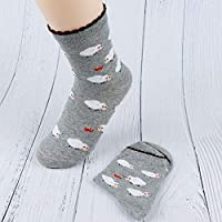 CYMTZ 5 Pares/Paquete Mujeres Lindos Calcetines Animales Patrón Invierno Otoño Niña Calcetines De Algodón CálidoGris