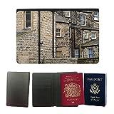 PU Pass Passetui Halter Hülle Schutz // M00155962 Gebäude Architektur Mauer Fenster // Universal passport leather cover