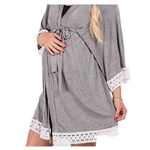 Yazidan Frauen Mutterschafts Umstandskleid Still-Nachthemd Stillen Nachthemd Lace Groß Lose Sleepwear V Ausschnitt Bademantel Hausmantel Morgenmantel Nachthemd Langarm Nachtwäsche ()