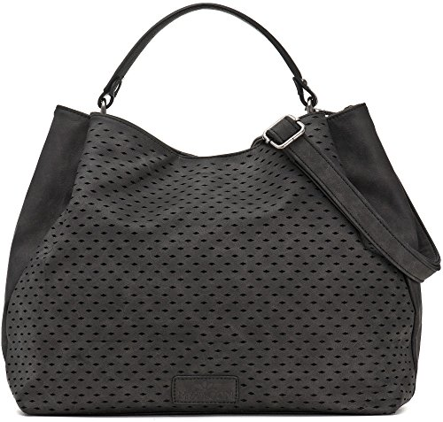 Umhängetasche in Schwarz - Damen Handtasche mit verstellbarem Schultergurt - Henkeltasche in Leder Optik - 40 x 29 x 13,5 cm - Hobo Bag von MIYA BLOOM (Mittel-gepäck-tags Zwei)