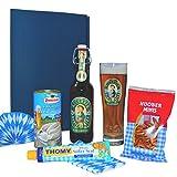 Bayern Geschenkset ,,Oktoberfest'' Geschenkbox & Geschenkkorb, Fresskorb, Biergeschenk, Geschenk für Männer & Frauen, Weißwurst & Bier ,,Allgäuer Büble'' & Brezeln & Süßer Senf