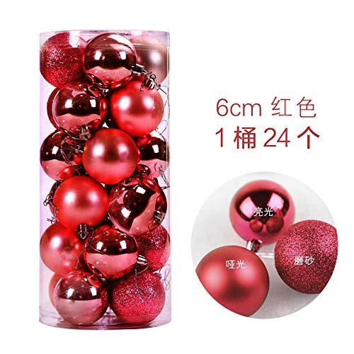 HAPPYLR Weihnachtskugeln Weihnachtsschmuck Weihnachtskugeln Licht Ball Plating Ball Weihnachten Anhänger 24 Fässer Paket Ball, 6 cm rot 24 Pack - 24k Fass
