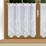 Moderne Stickerei-Scheibengardine Mara in weiß Echte Plauener Spitze in edel-Klassischem Design