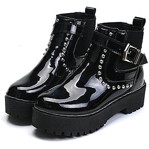 Plataforma Europea para bota hebilla otoño/invierno de la mujer gruesa con botas estudiantes Martin botas botas de la mujer , black ,