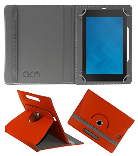 Acm Rotating 360° Leather Flip Case for Dell Venue 7 Premium Cover Stand Orange  available at amazon for Rs.149