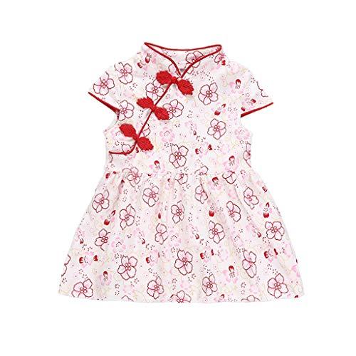Bestow Vestido de Cheongsam de Pintura de Tinta de Flores de Estilo Chino de Manga Corta para niños Vestidos de Princesa(Rojo,12-18M)
