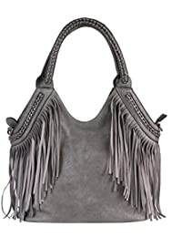 Damara Womens Soft Weave Tassels Top-Handle PU Tote Bag,Dark Grey