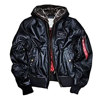 New Alpha Industries MA-1 D-Tec Leather made of genuine black Lamb Nappa Leather with detachable teddy-lined hood windbreaker Bomber Pilot Biker Jacket original red satin lining M L XL XXL 3XL 4XL 5XL, Size:L;Color:black