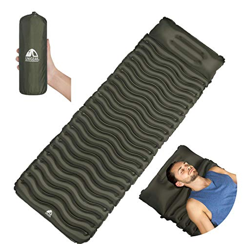Unigear Camping Isomatte, Aufblasbare Luftmatratze Camping, Schlafmatte für Outdoor, Feuchtigkeitsbeständig Wasserdicht und rutschfest, MEHRWEG (Armeegrün mit Kissen)