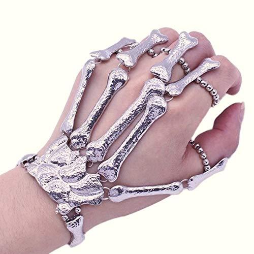 WSJDE Party Dekoration Halloween Requisiten Nachtclub Party Punk Finger Armband Schädel Skelett Knochen Hand Finger - Womens Punk Zombie Kostüm