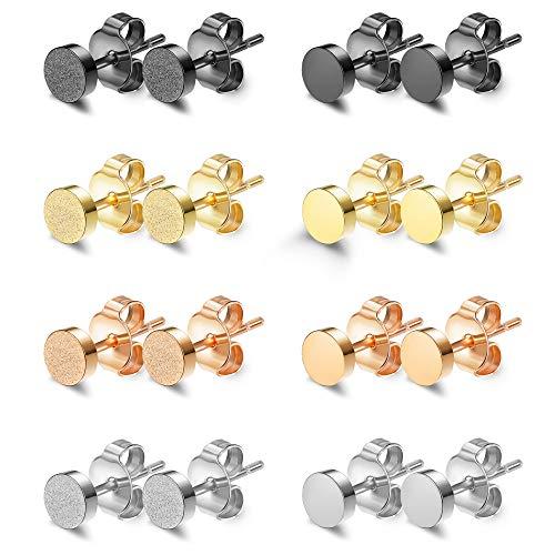 Finrezio 8 Parre Runde Ohrstecker Set aus Edelstahl für Damen Mädchen Herren Silber Gold Schwarz Rosegold 4mm