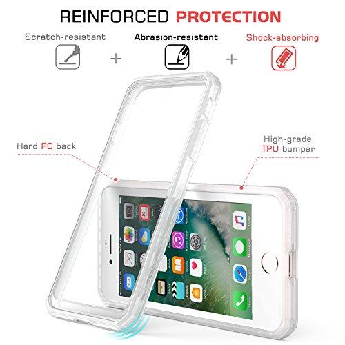 "MoKo iPhone 8 / iPhone 7 Coque Transparente- Etui/Housse de Protection Ultra léger Flexible Anti-rayures Anti-Chocs pour iPhone 8 / iPhone 7 4.7"" Smartphone , Noir Transparent/Givre"