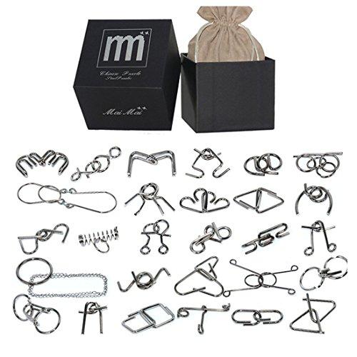 BOROK Rompecabezas Metal, 28Pack 3D Puzzles Adultos Juegos de Ingenio Juegos de Mesa Juego Iq Juguete Educativos Habilidad Juego Logica Calendario de Adviento Niños