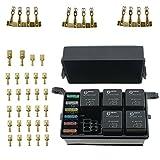 T Tocas - Caja de relé de 12 ranuras, 6 relés, 6 fusibles, caja de relé de fusibles con fusible y 4 pines, 12 V, 40 A, relé para coche, barco, bicicleta